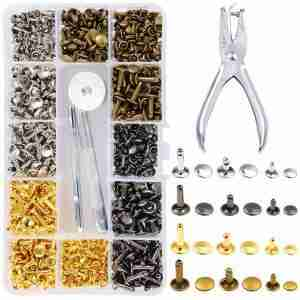 Leather Rivets with Punching Plier 365 Pcs for Leather Work Gold,Silver,Bronze,Gunmetal